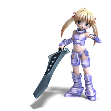 female manga paladin with huge sword. 3D renderingand shadow over white