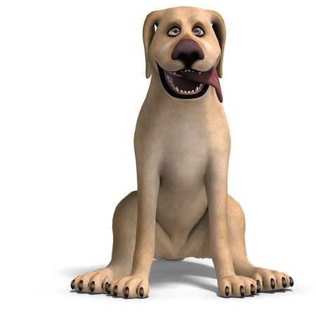 daft: very funny cartoon dog is a little bit nuts. 3D rendering and shadow over white Stock Photo
