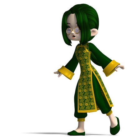 astonished: funny cartoon girl in green china dress. 3D rendering and shadow over white