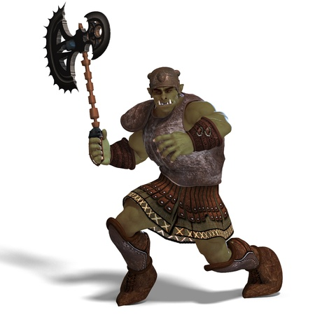 Male Fantasy Orc Barbarian with Giant Axe. 3D rendering and shadow over white photo