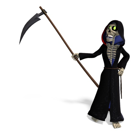 decease: funny cartoon reaper. 3D rendering  and shadow over white Stock Photo