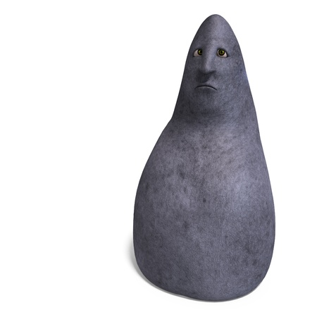 dinky: cartoon rock with a funny face. 3D rendering and shadow over white