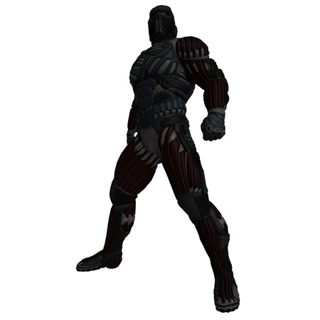 diehard: science fiction male character in futuristic suit. 3D rendering  and shadow over white Stock Photo