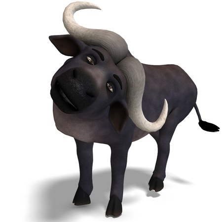 funny ox: very cute and funny cartoon buffalo. 3D rendering and shadow over white Stock Photo
