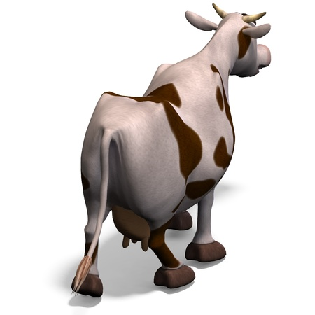 cute and funny cartoon cow. 3D rendering and shadow over white photo