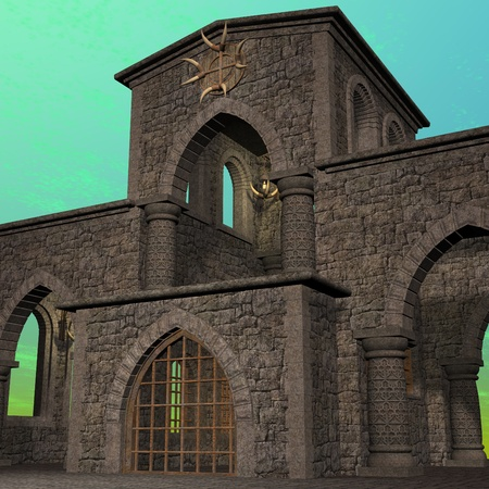fantasy temple at dawn. 3D rendering of a fantasy theme for background usage. Stock Photo - 8673454