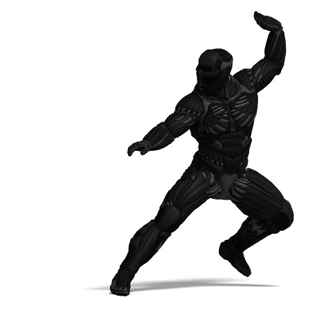 joust: science fiction male character in futuristic suit. 3D rendering  and shadow over white Stock Photo