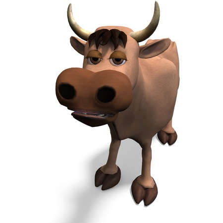 funny ox: cute and funny cartoon bull. 3D rendering and shadow over white Stock Photo