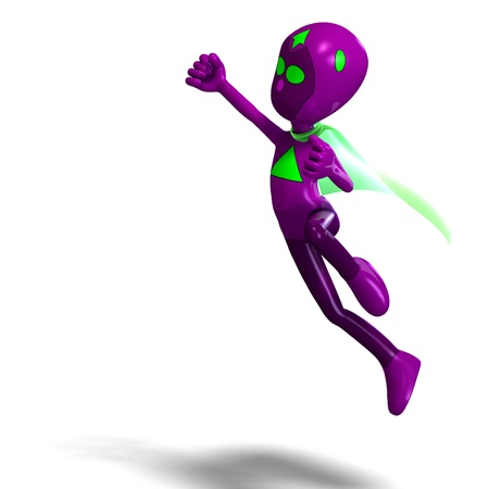 funny and cute cartoon android hero. 3D rendering and shadow over white Stock Photo - 8673440