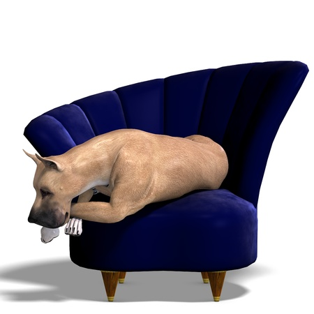 asleep chair: Great Dane Dog. 3D rendering  and shadow over white