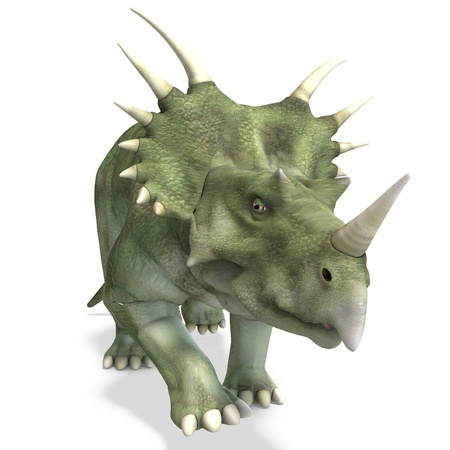 Dinosaur Styracosaurus. 3D rendering and shadow over white