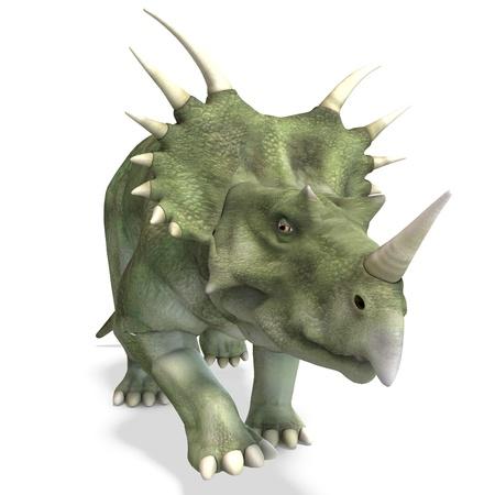 Styracosaurus de dinosaurio. Procesamiento de 3D y sombra sobre blanco