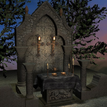 saintly: archaic altar or sanctum in a fantasy setting. 3D rendering of a fantasy theme. ideal for background usage.