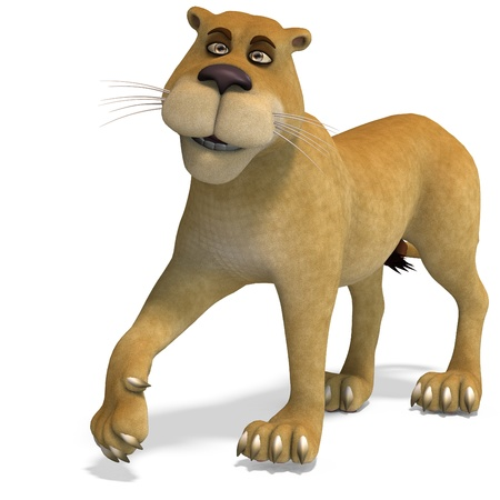 female lion: very cute and funny female cartoon lion. 3D rendering  and shadow over white