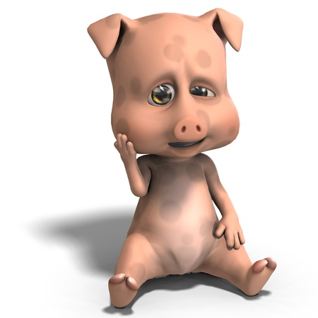 cute and funny cartoon pig. 3D rendering and shadow over white photo