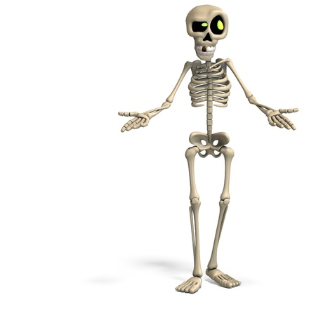very funny cartoon skeleton. 3D rendering and shadow over white