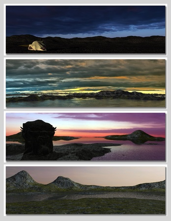 four different fantasy landscapes for banner, background or illustration. 3D rendering Stock Illustration - 8686971