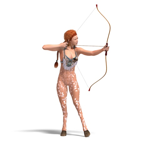 bowman: female fantasy deer with bow. 3D rendering