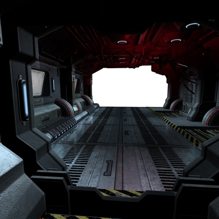backcloth: background or composing image inside a futuristic scifi spaceship
