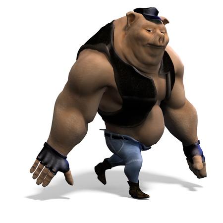 cartoon animal big pig as a biker. 3D rendering   photo