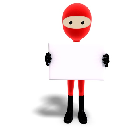 funny and cute cartoon hero with mask. 3D rendering Stock Photo - 8686956