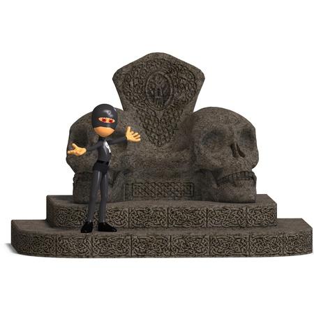 funny cartoon hero on a throne. 3D rendering   Stock Photo - 8686968