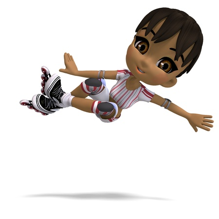 smart woman: cute cartoon girl with inline skates. 3D rendering