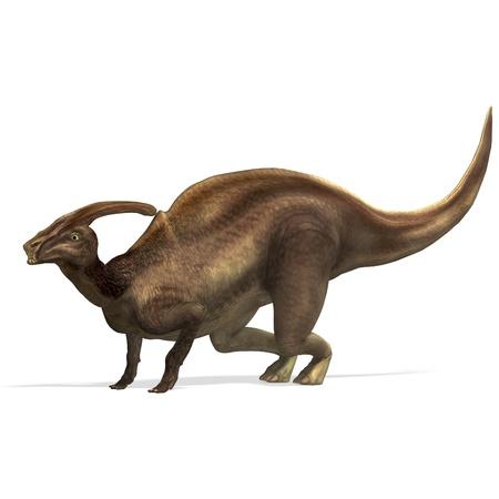 Parasaurolophus de dinosaurio. Procesamiento de 3D  Foto de archivo