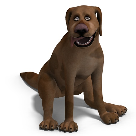 watchdog: the cute and funny cartoon dog is a bit silly. 3D rendering   Stock Photo