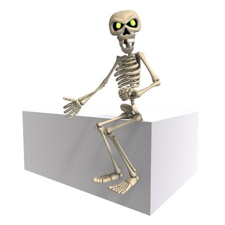perish: funny cartoon skeleton invites you. 3D rendering