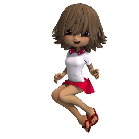 frisk: cute little cartoon school girl has a lot of fun. 3D rendering