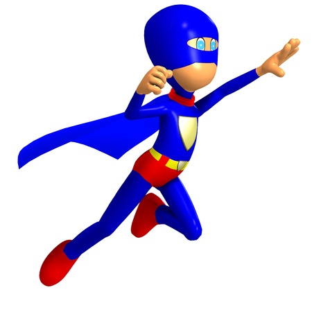 super dog: funny cartoon  hero. 3D rendering   Stock Photo