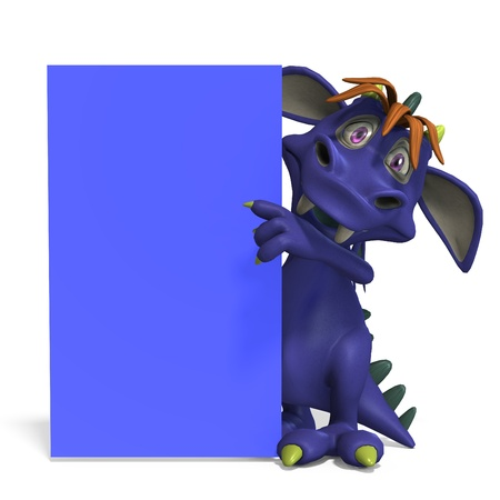 daemon: funny and colorful cartoon monster. 3D rendering  Stock Photo