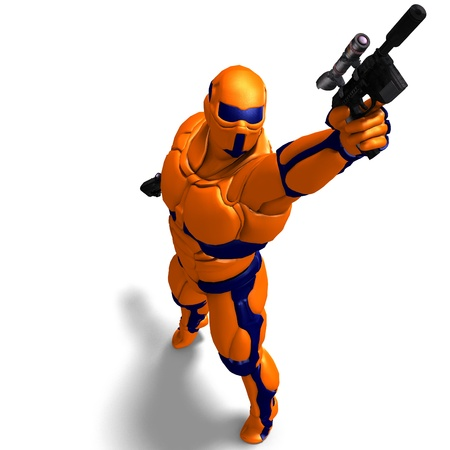 rapid fire: science fiction male character in futuristic suit. 3D rendering