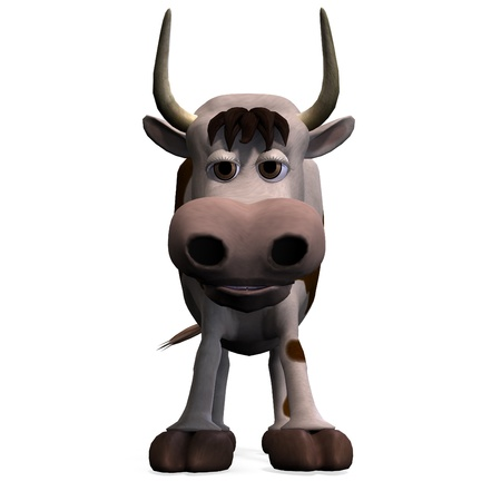 funny ox: cute and funny cartoon bull. 3D rendering