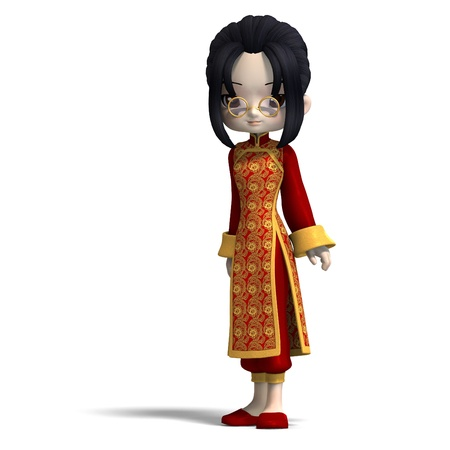 sweet cute cartoon chinagirl with glasses and red clothes. 3D rendering  Zdjęcie Seryjne