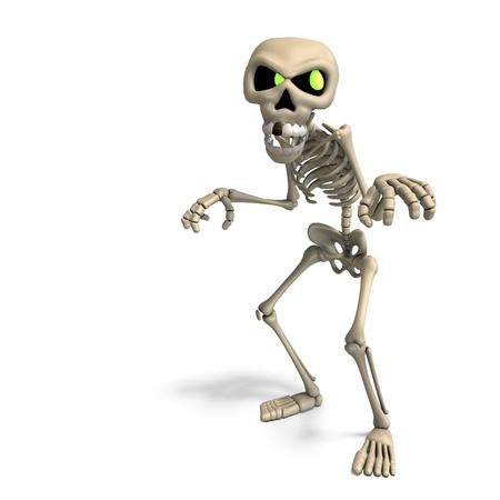 very funny cartoon skeleton. 3D rendering
