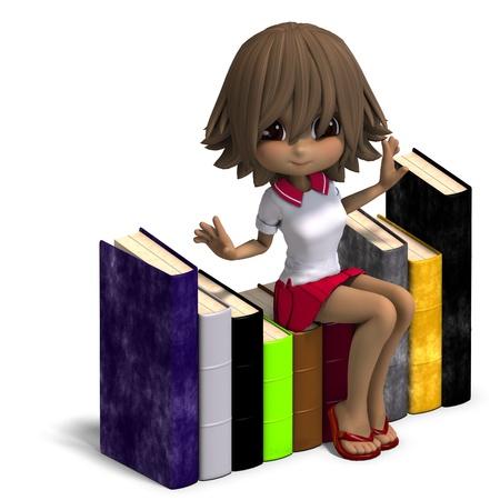 cartoon school girl: bonita caricatura escuela ni�a con muchos libros. Procesamiento de 3D   Foto de archivo