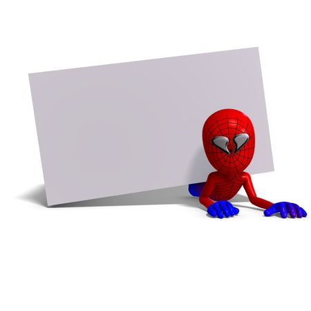 funny cartoon hero that crawls like a spider. 3D rendering     Stock Photo - 8694358