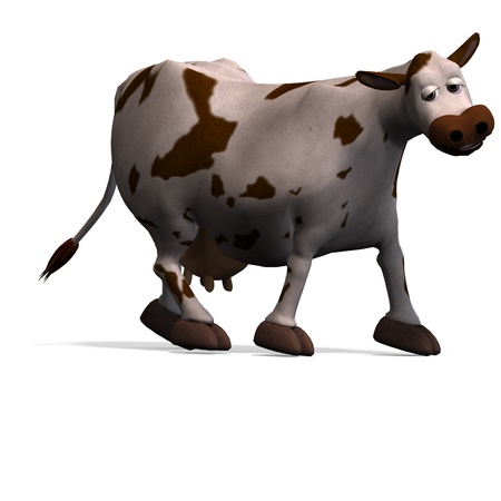 cute and funny cartoon cow  photo