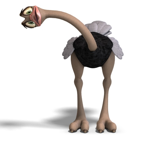feelings and emotions: cute toon ostrich gives so much fun