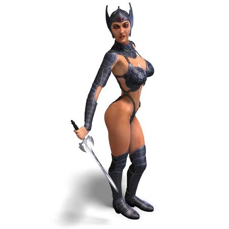 weibliche Amazon Krieger mit Schwert und Rüstung  Lizenzfreie Bilder - 8769893