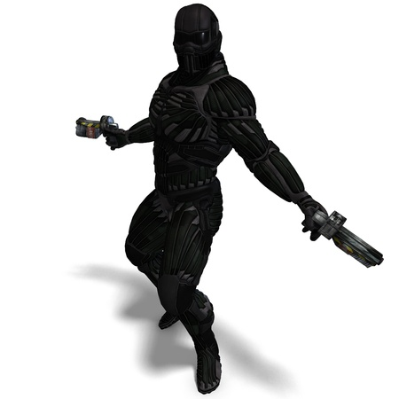 rapid fire: science fiction male character in futuristic suit  Stock Photo
