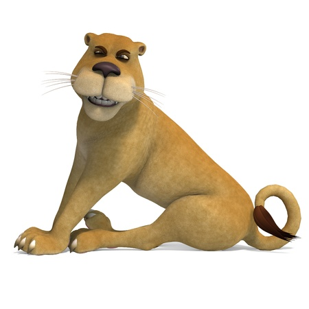 lion tail: very cute and funny female cartoon lion  Stock Photo
