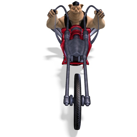 maniac: toon animal big pig as a biker  Stock Photo