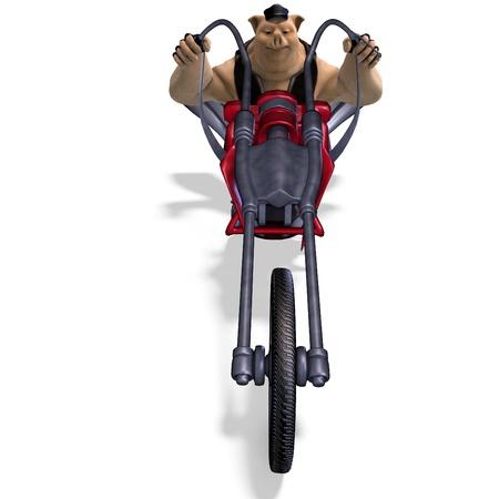dinky: toon animal big pig as a biker  Stock Photo