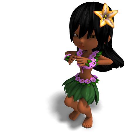 broad: very cute hawaiin cartoon girl is dancing for you