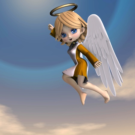 lassie: cute cartoon angel with wings and halo.