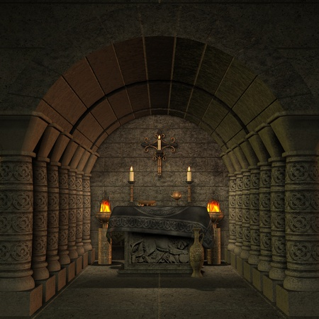 archaic altar or sanctum in a fantasy setting. 3D rendering of a fantasy theme. ideal for background usage. Stock Photo - 8794740