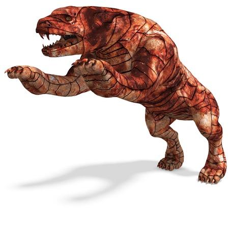 perro asustado: Cerberus - el perro de infierno. Procesamiento de 3D con sombra sobre blanco